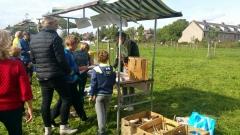Leerlingen van basisschool de Regenboog vullen een insectenhotel